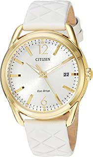 Citizen Women's 'Drive' Quartz Stainless Steel and Leather Casual Watch, Color:White (Model: FE6082-08P)