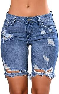 Dokotoo Womens Fashion Denim Destroyed Stretchy Bermuda Shorts Jeans