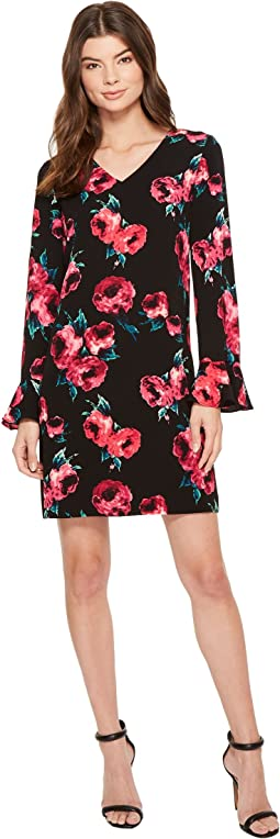 Floral Print Bell Sleeve Shift