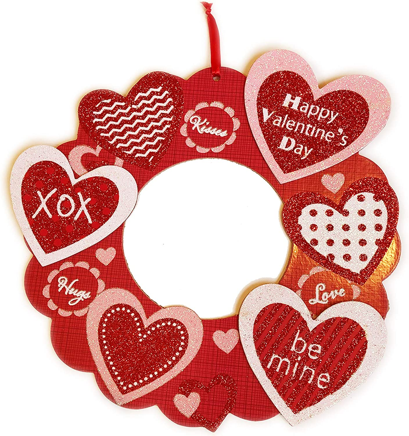 """Valentines Day Wreaths for Front Door Outside Décor Red Wall Hanging Sign 12"""" Wooden Heart Glitter Art Hanger Outdoor Decorations for The Home Porch Farmhouse Living Room Bathroom Surprise Gifts"""