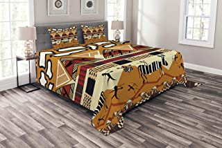 Ambesonne Ethnic Bedspread, Style Hunting Zebra Illustration Prehistoric Tribe Life Theme Print, Decorative Quilted 3 Piece Coverlet Set with 2 Pillow Shams, Queen Size, Mustard Ruby