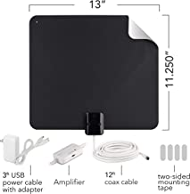 RCA Indoor TV Antenna Amplified Antenna TV Digital HD - Thin Film Reversible Antenna with HDTV Multi-Directional VHF and UHF Reception and A Large 65 Mile Range from Black (AZON009), Black