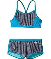 Heather Splice Boyshorts Two-Piece Swimsuit Set (Big Kids)
