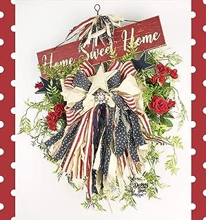 Patriotic Wreath, Summer Wreath, Tobacco Basket Wreath, Rag Bow Wreath, Memorial Day Centerpiece, Patriotic Arrangement, Independence Day