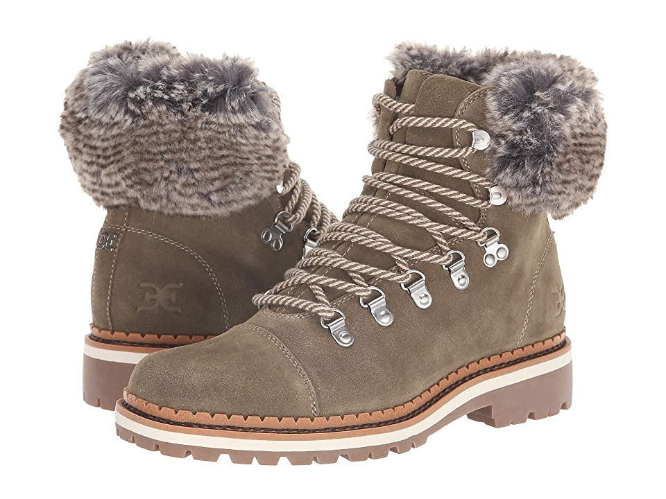 f5b426625465 Sam Edelman Bowen (Moss Green Grey Multi Velutto Suede Leather Apline Fur) Women s  Shoes