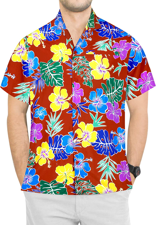 LA LEELA Men's Regular Fit Hawaiian Shirt Beach Aloha Party Camp Shirt Printed A