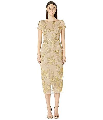 Marchesa Notte Short Sleeve Metallic Embroidered Shift Dress (Gold) Women