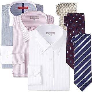 [ドレスコード101] 形態安定 長袖 ワイシャツ ネクタイ 6点セット 福袋 プレゼントにも最適 おしゃれなコーディネート選べる10サイズ FUKU-S3N3 メンズ