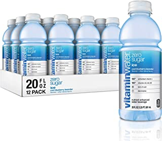 vitaminwater zero sugar ice, ice cool blueberry-lavender flavored, electrolyte enhanced bottled water with vitamin b5, b6, b12, 20 fl oz, 12 pack