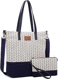 Myhozee Handtasche Damen Canvas Tasche Groß Schultertasche 15.6 Zoll mit ClutchBag, Umhängetasche Shopper Taschen 2 Sets