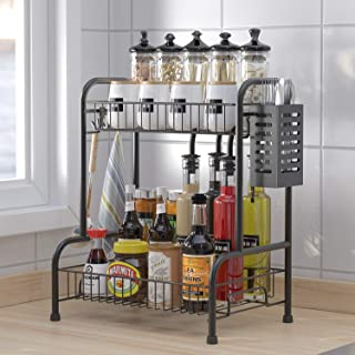 Kitchen Shelf Organizer Countertop,2-Tier Spice Rack Organizer with Cutlery Chopsticks Storage Shelf, Kitchen Rack Organiz...