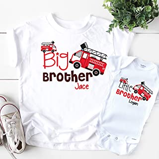 Big Brother Little Brother Shirts - Personalized FireTruck Set Boys