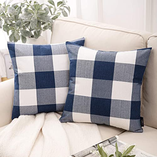 high quality Phantoscope Pack of 2 Buffalo Check Plaid Throw Pillow Covers Cushion Case Farmhouse Square Throw Pillow 2021 Cases for lowest Fall Home Decor Navy Blue,18 x 18 Inches sale