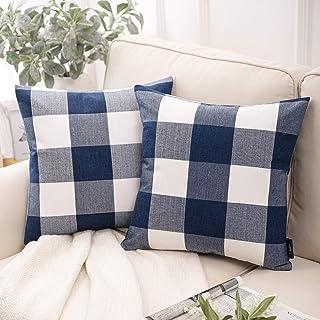 Phantoscope Pack of 2 Buffalo Check Plaid Throw Pillow Case Cushion Cover Blue 18 x 18 inches 45 x 45 cm