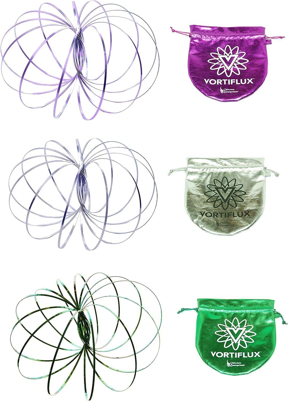 Purple, Green, Gold Vortiflux Three Pack Infinite Flow Rings Spring Toy