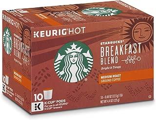 Starbucks Breakfast Blend Medium Roast Single Cup Coffee for Keurig Brewers, 10 Count