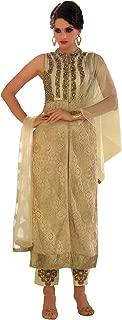 Marzipan Jacket Style Salwar Kameez Suit with Ari-Embroider - Beige