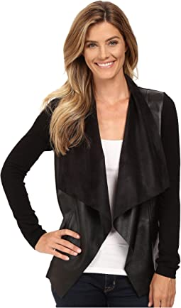 Faux Leather Drape Front L/S Sweater