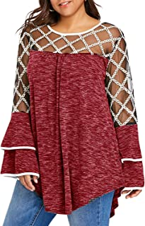 GAOXINGQU Women's Plus Size Mesh Stitching Sexy Bell Sleeve Blouse (Color : Red, Size : 4XL)