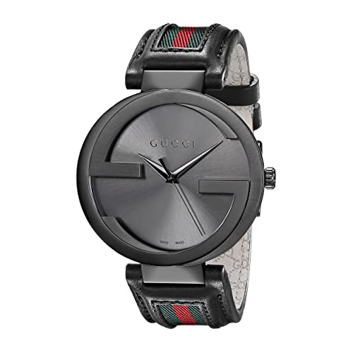 Gucci Interlocking Iconic Bezel Anthracite Stainless Steel Mens Watch with Leather Band(Model:YA133206