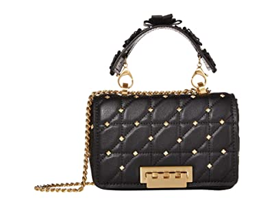 ZAC Zac Posen Earthette Small Soft Chain Shoulder Solid Studded (Black) Handbags