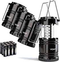 4 بسته چراغ کمپینگ فانوس، کیت زنده برای طوفان، اورژانس، طوفان، خرابی ها، فانوس های قابل حمل در فضای باز، سیاه و سفید، جمع و جور (باتری شامل) - Vont