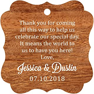 Darling Souvenir Custom Wedding Thank You Message Gift Tags Personalized Party Favor Hang Paper Tags-Rustic Wood-100 Tags