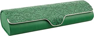 Hard shell glasses case with floral embossment - faux leather glasses case with magnetic closure (grass green)