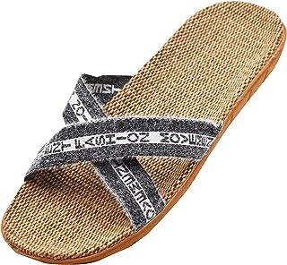 R-ISLAND Pantofole di Lino Ciabatte Donna Pantofole da Casa Antiscivolo Traspirante Scarpe da Spiaggia Calzature Adatte pe...