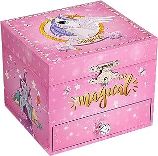 SONGMICS Ballerina Musical Jewelry Box, Unicorn for 3-5 Years Old Little Girls UJMC008PK
