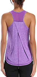 Workout Tops for Women Mesh Racerback Tank Yoga Shirts Gym Clothes