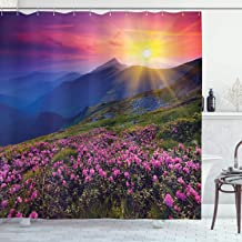 Ambesonne Landscape Shower Curtain, Fairy Horizon with Flowers on The Valley and Mountain Mysterious Photo, Cloth Fabric Bathroom Decor Set with Hooks, 70 Long, Multicolor
