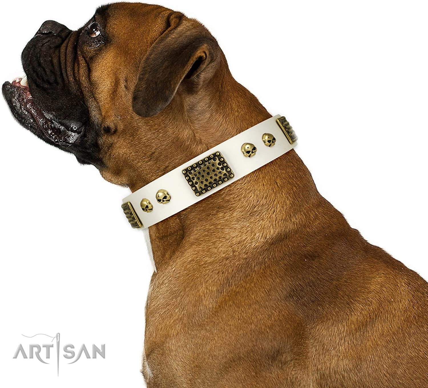 Artisan 32 inch White Leather Dog Collar Plates'n'Skulls Exclusive