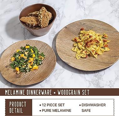 Melamine Dinnerware Set - 12 pcs Melamine Plates Outdoor Plates Summer Plates and Bowls Sets Melamine Plates Ideal Camping Di