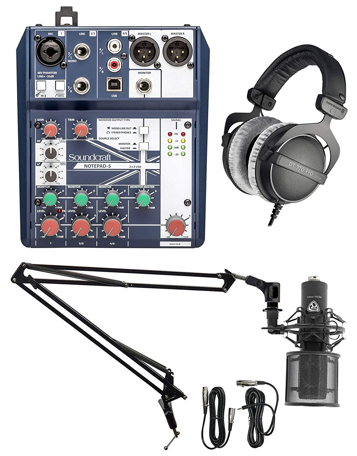 Gaming Twitch Live Stream Kit Soundcraft Mixer+Beyerdynamic Headphones+Mic+Boom