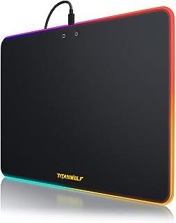 TITANWOLF - Alfombrilla de ratón Gaming con iluminación RGB - Neon Speed - Efecto Arco Iris - 340 x 245 mm - Superficie de plástico - Parte Inferior recubierta de Goma Antideslizante