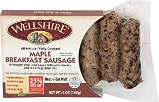 Wellshire Farms, Sausage Link Pork Skinless Maple Smoked Cooked, 6 Ounce