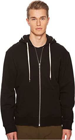 Black Hoodie Sweatshirt with Zip Detailing