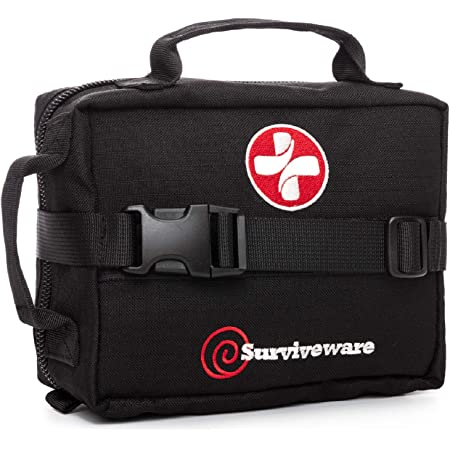 Surviveware Survival First Aid Kit for Outdoor Preparedness - Comes with Removable MOLLE Compatible System and Labeled Compartments - Backpacking, Hiking & Outdoors Preparedness