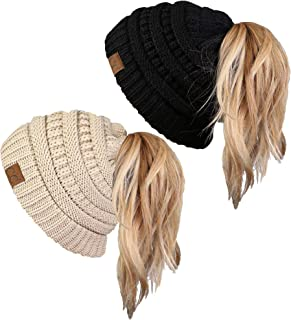 Ponytail Messy Bun BeanieTail Women's Beanie Solid Ribbed...