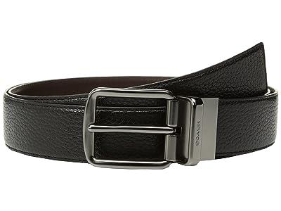 COACH Wide Reversible Belt (Black/Mahogany) Men