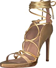 BCBGMAXAZRIA Women's Esme Lace Up Sandal Sandal, gold/brushed gold, 7.5 M US