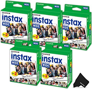 FujiFilm Instax Wide Instant Film 5 Pack (5 x 20) Total of 100 Photo Sheets - Compatible with FujiFilm Instax Wide 300 210 and 200 Instant Cameras