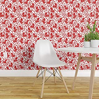 Spoonflower Peel and Stick Removable Wallpaper, Chinese Horse Cut Out Paper Horses Cherry Blossom Print, Self-Adhesive Wallpaper 12in x 24in Test Swatch