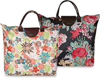 NFI essentials Handy Fold Up Shopping Bag Foldable Shopping Handbag Travel Bag Women Shoulder Waterproof Carry Bag, Zip To...