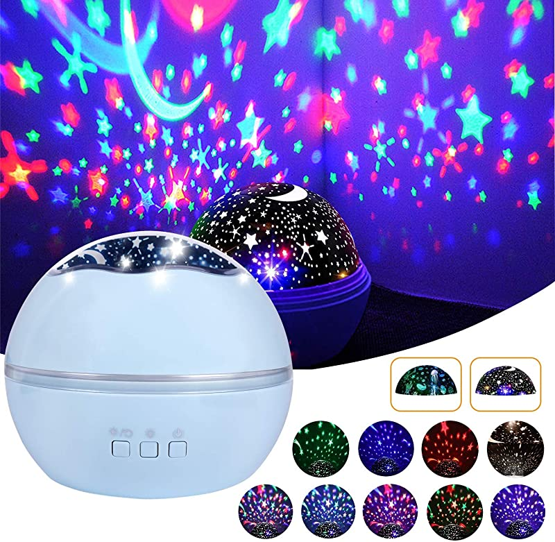 Alenbrathy Starry Night Light Newest Star Ocean 360 Rotating Multiple Colors Ceiling Projector Romantic Home Decoration Lamp For Kids Baby Bedrooms Nursery Gifts For Kids Christmas Birthday Blue