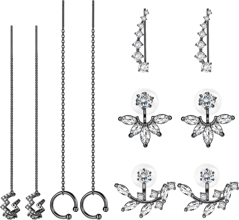 ORAZIO 5 Pairs Minimalist Earring For Women Chain Threader Earrings Wrap Tassel Earrings Ear Cuffs Climber Earring Lotus Flower Jackets Earring Set