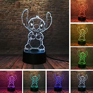 Fanrui Children Anime Animals Stitch - Lilo and Stitch - 3D Cartoon Kawaii Figure Action Lovely 7 Color Change IR Remote Night Lights Home Boys Roon Decor Child Kids Friend Xmas Birthday Holiday Gifts