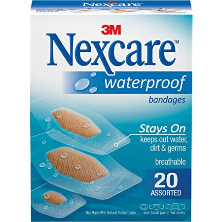 Assorted Sizes Variety Pack 100/% Waterproof First Aid for Minor Cuts /& Scrapes 20 Count All Health Clear Waterproof Adhesive Bandages