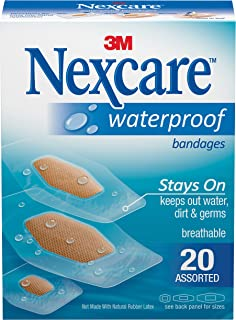 Nexcare Waterproof Clear Bandages, Stays On In Water, Ultra-thin and Comfortable, Covers and Protects, Assorted Sizes, 20 Count